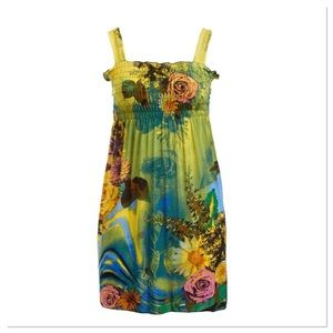 Green & Yellow Floral Dress